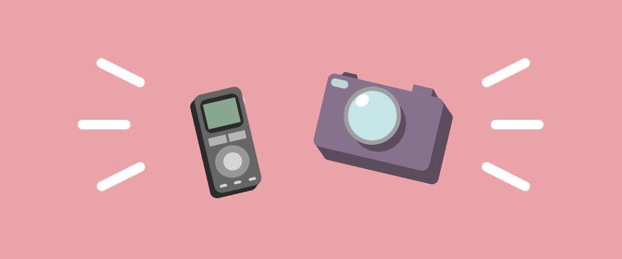 ICレコーダーとカメラ