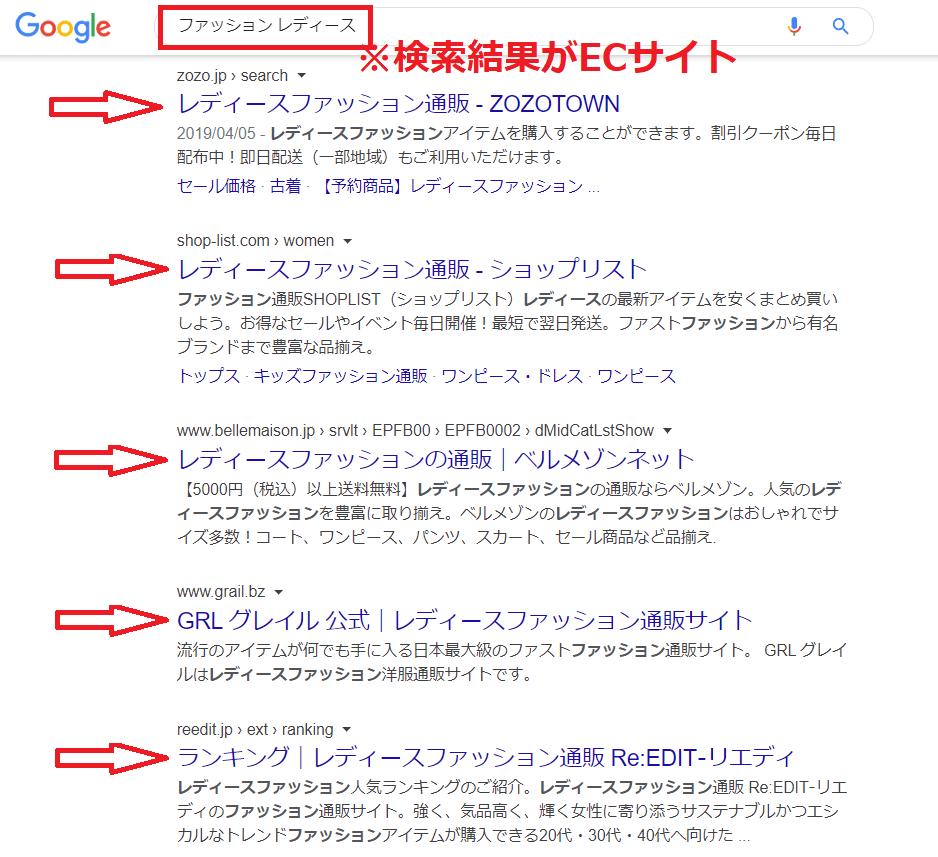 ECサイト検索結果